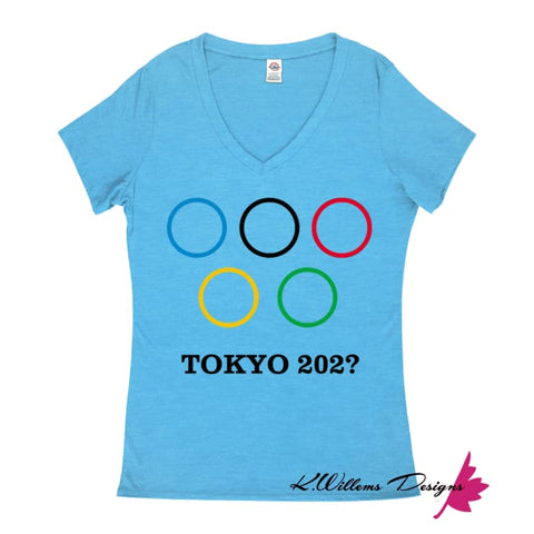 Covid-19 Tokyo 2020 Ladies V-Neck T-Shirts - Turquoise Heather / Small (S)