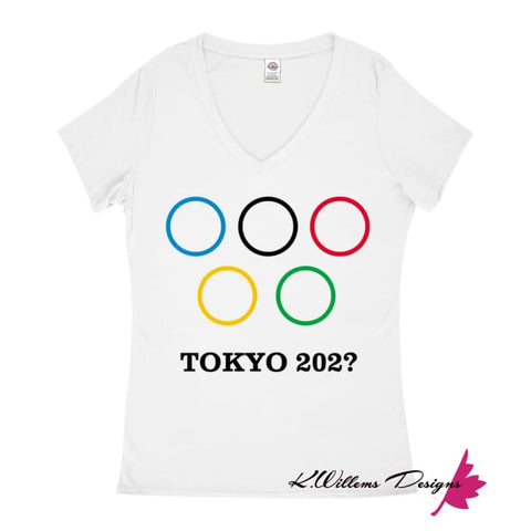 Image of Covid-19 Tokyo 2020 Ladies V-Neck T-Shirts - White / Small (S)
