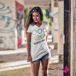 Covid-19 Tokyo 2020 Ladies District V-Neck T-Shirts
