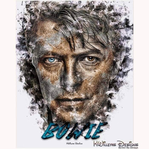 Image of David Bowie Ink Smudge Style Art Print - Acrylic Art Print / 16x20 inch
