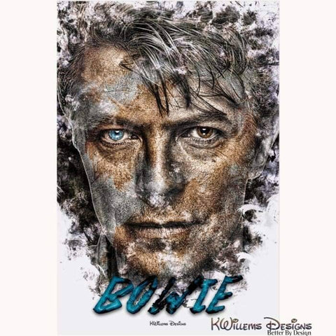 Image of David Bowie Ink Smudge Style Art Print - Acrylic Art Print / 24x36 inch