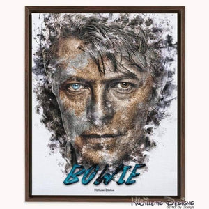David Bowie Ink Smudge Style Art Print - Framed Canvas Art Print / 16x20 inch