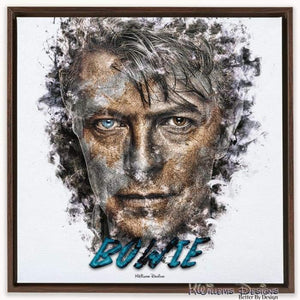 David Bowie Ink Smudge Style Art Print - Framed Canvas Art Print / 24x24 inch