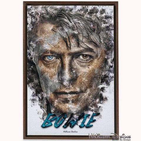 Image of David Bowie Ink Smudge Style Art Print - Framed Canvas Art Print / 24x36 inch