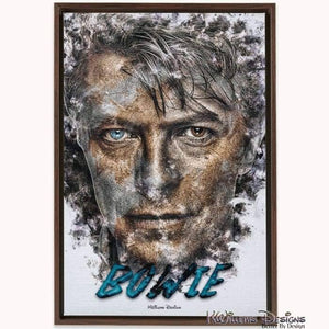 David Bowie Ink Smudge Style Art Print - Framed Canvas Art Print / 24x36 inch