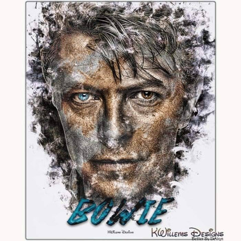 Image of David Bowie Ink Smudge Style Art Print - Metal Art Print / 16x20 inch