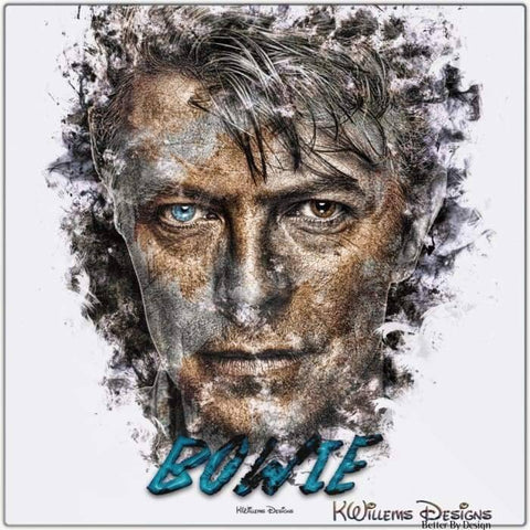 Image of David Bowie Ink Smudge Style Art Print - Metal Art Print / 24x24 inch