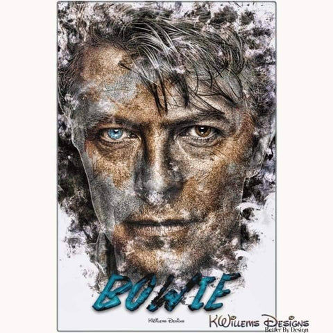 Image of David Bowie Ink Smudge Style Art Print - Metal Art Print / 24x36 inch