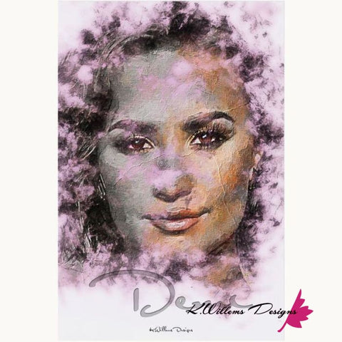 Demi Lovato Ink Smudge Style Art Print - Acrylic Art Print / 24x36 inch