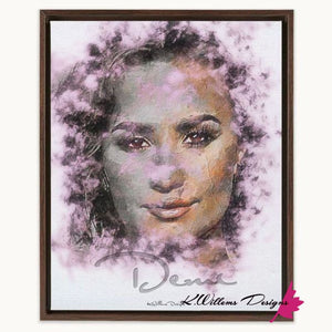 Demi Lovato Ink Smudge Style Art Print - Framed Canvas Art Print / 16x20 inch