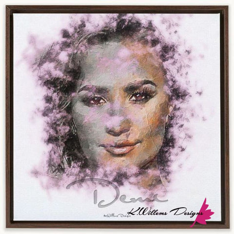 Image of Demi Lovato Ink Smudge Style Art Print - Framed Canvas Art Print / 24x24 inch