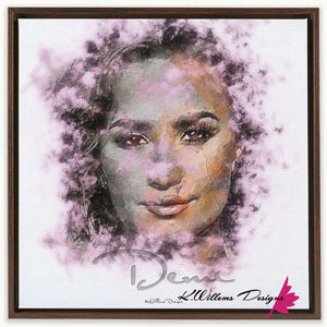 Demi Lovato Ink Smudge Style Art Print - Framed Canvas Art Print / 24x24 inch