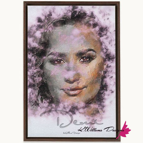 Demi Lovato Ink Smudge Style Art Print - Framed Canvas Art Print / 24x36 inch