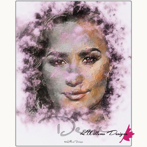 Image of Demi Lovato Ink Smudge Style Art Print - Metal Art Print / 16x20 inch
