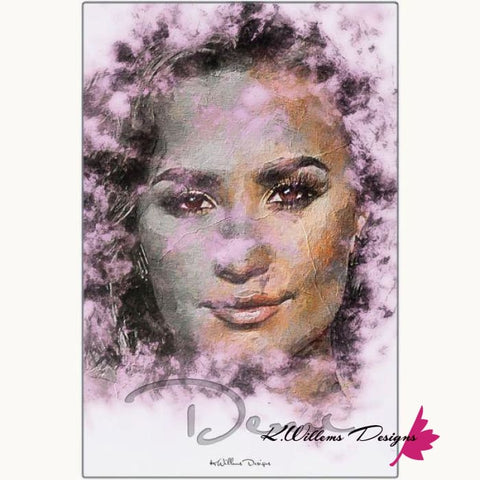 Image of Demi Lovato Ink Smudge Style Art Print - Metal Art Print / 24x36 inch