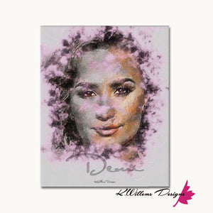 Demi Lovato Ink Smudge Style Art Print - Wrapped Canvas Art Print / 16x20 inch