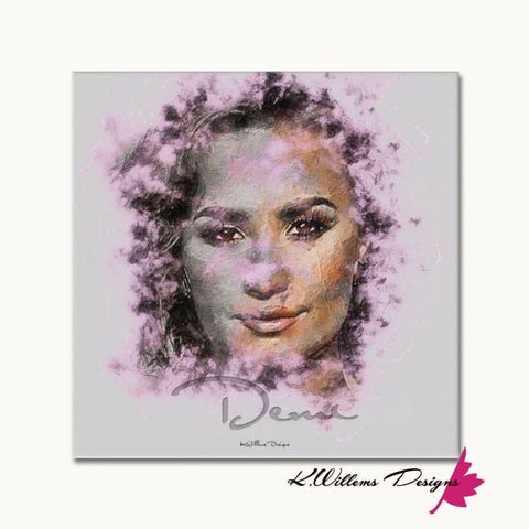 Image of Demi Lovato Ink Smudge Style Art Print - Wrapped Canvas Art Print / 24x24 inch