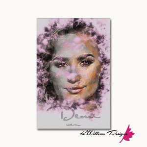 Demi Lovato Ink Smudge Style Art Print - Wrapped Canvas Art Print / 24x36 inch