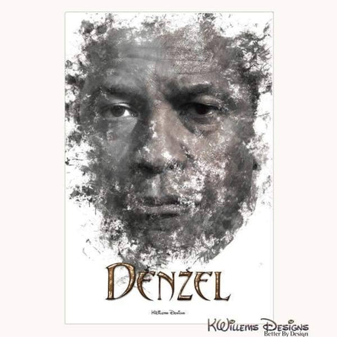 Image of Denzel Washington Ink Smudge Art Art Print - Wrapped Canvas Art Print / 24x36 inch