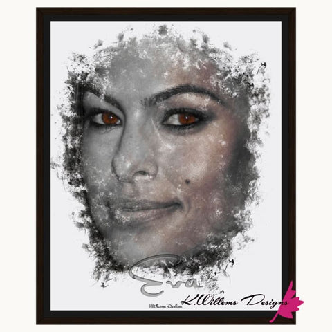 Image of Eva Mendes Ink Smudge Style Art Print - Framed Canvas Art Print / 16x20 inch