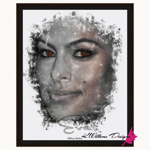 Eva Mendes Ink Smudge Style Art Print - Framed Canvas Art Print / 16x20 inch