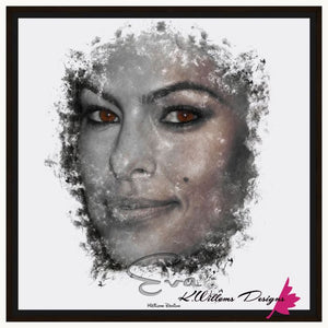 Eva Mendes Ink Smudge Style Art Print - Framed Canvas Art Print / 24x24 inch