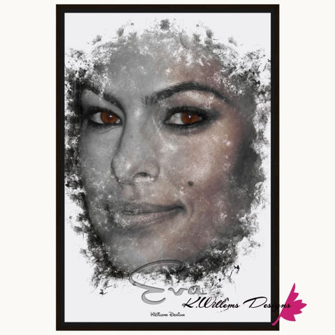 Image of Eva Mendes Ink Smudge Style Art Print - Framed Canvas Art Print / 24x36 inch