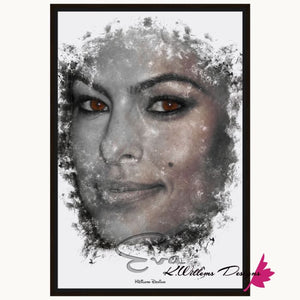 Eva Mendes Ink Smudge Style Art Print - Framed Canvas Art Print / 24x36 inch
