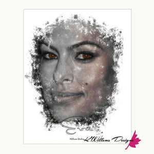 Eva Mendes Ink Smudge Style Art Print - Wrapped Canvas Art Print / 16x20 inch