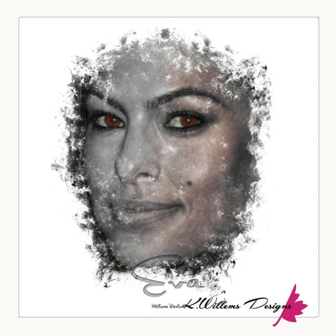 Image of Eva Mendes Ink Smudge Style Art Print - Wrapped Canvas Art Print / 24x24 inch