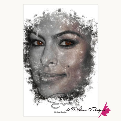 Image of Eva Mendes Ink Smudge Style Art Print - Wrapped Canvas Art Print / 24x36 inch