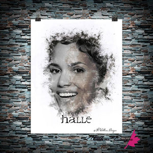 Halle Berry Ink Smudge Style Art Print
