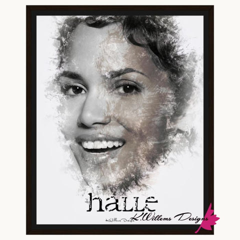 Image of Halle Berry Ink Smudge Style Art Print - Framed Canvas Art Print / 16x20 inch