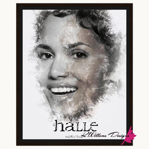 Halle Berry Ink Smudge Style Art Print - Framed Canvas Art Print / 16x20 inch