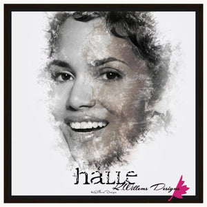 Halle Berry Ink Smudge Style Art Print - Framed Canvas Art Print / 24x24 inch