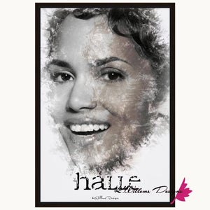 Halle Berry Ink Smudge Style Art Print - Framed Canvas Art Print / 24x36 inch