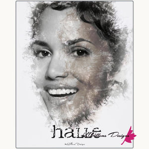 Halle Berry Ink Smudge Style Art Print - Metal Art Print / 16x20 inch