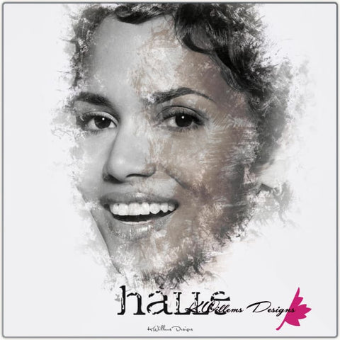 Image of Halle Berry Ink Smudge Style Art Print - Metal Art Print / 24x24 inch