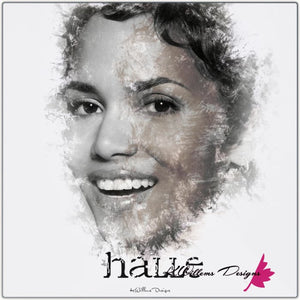Halle Berry Ink Smudge Style Art Print - Metal Art Print / 24x24 inch