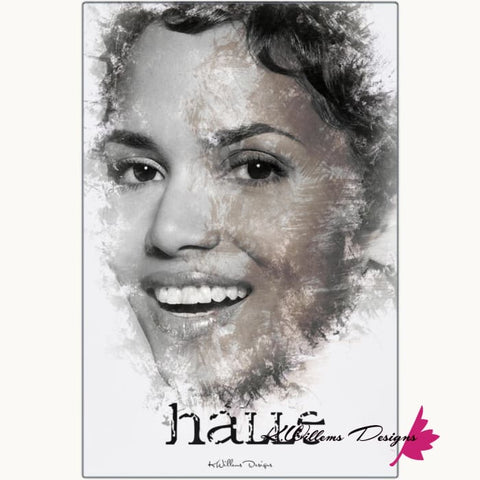 Image of Halle Berry Ink Smudge Style Art Print - Metal Art Print / 24x36 inch