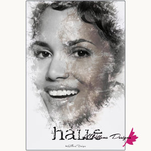 Halle Berry Ink Smudge Style Art Print - Metal Art Print / 24x36 inch