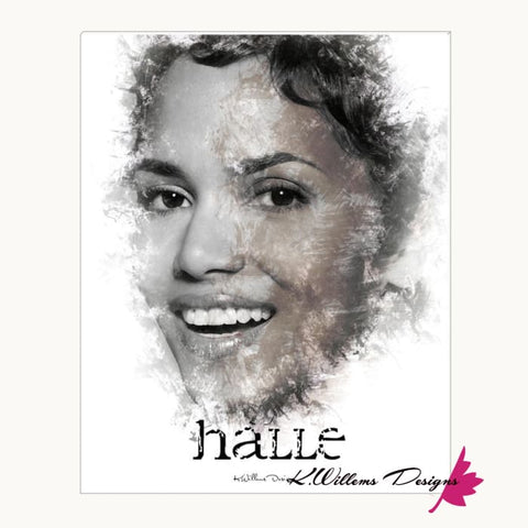 Image of Halle Berry Ink Smudge Style Art Print - Wrapped Canvas Art Print / 16x20 inch