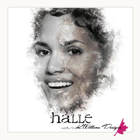 Image of Halle Berry Ink Smudge Style Art Print - Wrapped Canvas Art Print / 24x24 inch