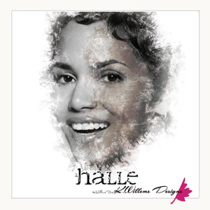 Halle Berry Ink Smudge Style Art Print - Wrapped Canvas Art Print / 24x24 inch