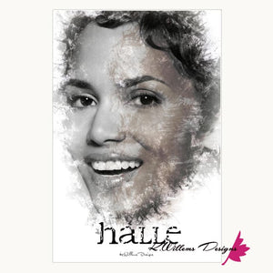 Halle Berry Ink Smudge Style Art Print - Wrapped Canvas Art Print / 24x36 inch