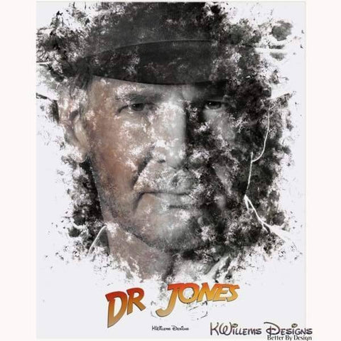 Image of Harrison Ford as Indiana Jones Ink Smudge Art Art Print - Acrylic Art Print / 16x20 inch
