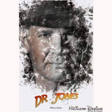Image of Harrison Ford as Indiana Jones Ink Smudge Art Art Print - Acrylic Art Print / 24x36 inch