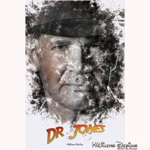 Harrison Ford as Indiana Jones Ink Smudge Art Art Print - Acrylic Art Print / 24x36 inch
