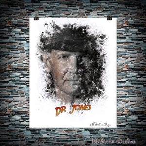 Harrison Ford as Indiana Jones Ink Smudge Art Art Print
