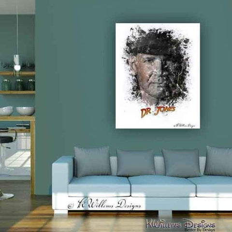 Image of Harrison Ford as Indiana Jones Ink Smudge Art Art Print